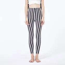 Stripes Mid Waist Women Printed Leggings, Casual Wear, Slim Fit