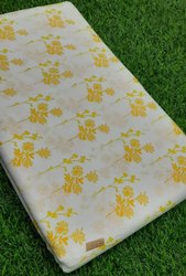 White & Yellow Hand Block Cotton Fabric Suit