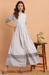 Janasya Women's White Cotton Western Dress With Pocket(J0158)