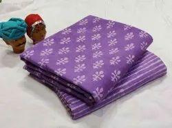 Purple Printed Cotton Fabric Suit