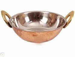Tora Creations Round Copper Kadai, Size: 15 X 12.8 X 07