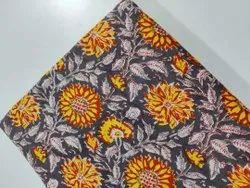 Flower Print Hand block Cotton Fabric Running
