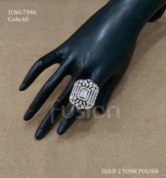 Fusion Arts Gold Polish American Diamond Finger Ring