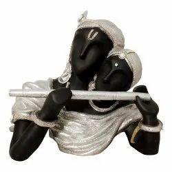 Radha Krishna Golden Black Silver Statue Playing Flute