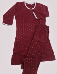 Knitted Ladies Maroon Night Suit, Kurti And Pajama