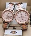 Analog Rose Gold Fossil Watch For Couple, Size: 35
