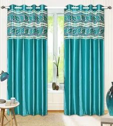 Polyester And Velvet Sky Blue Fancy Curtain, For Home
