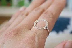 Big Circle Solid Sterling Silver Ring