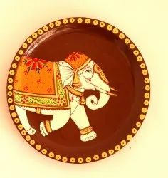 Multicolor Meshilp Wooden Hand Painted Decorative Elephant Round Plate, For Event, Size: 6X6X.1