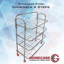 Gagan Enterprises Silver Homecare Stainless Steel 4 Shelf Shoe Rack