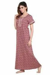 Full Length Cotton Big Prints Nighties, Free Size