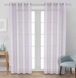 Sheer Long Door Curtain 9 Feet White Color Linen Fabric