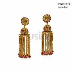 Fusion Arts Traditional Jhumka Brass Earrings