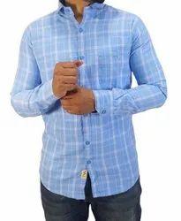 Collar Neck Check Samsa Mens Casual Wear Cotton Shirt, Size: Medium