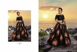 Midnight Black Pure Organza Designer Printed Floral Lehenga Choli With Sequins And Zari Work
