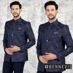 Wedding Jacquard Purple Jodhpuri Suit for Men in Floral Design