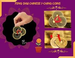 Golden Copper Feng Shui Chinese 3 Lucky Coins, For Home