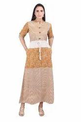 Handloom Aline Pocket Dress With Pockets