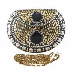 Nk Female Traditional Brass Metal Clutch Bag, Size: 19x4x13