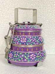 Steel Lunch Box Meena Hand Painted Tiffin