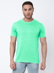 Hosiery Half Sleeve Light Green Round Neck T-shirt, Size: XS-XXL