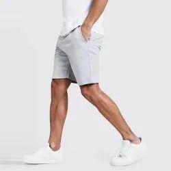 Knee Length Gray Mens Jersey Shorts, 2