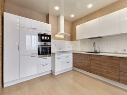 White and Brown Modern V Shape Wooden Modular Kitchen