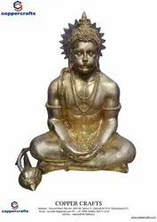 Copper Crafts Golden (Gold Plated) Brass Hanuman Statue, For Worship, Size: 24 Inch