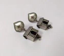 Brass Silver Look Alike Premium Quality Oxidised Dangler Earrings