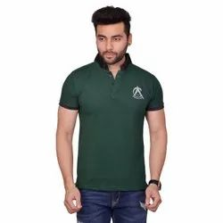 Chinese Collar Half Sleeve Mens Green T Shirt, Size: Large