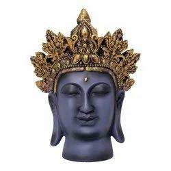 Handcrafted Crown Buddha Head Showpiece Figurine