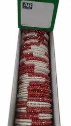 Red And White Wedding Plastic Bangles, Round, 2-8