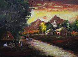 Smooth Canvas Wall Painting, Jhulan Mehatari