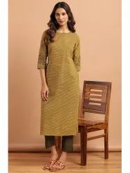 Janasya Women's Green Cotton Kurta With Pant(J0148)