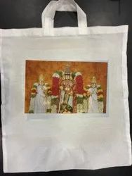 Loop Handle White Printed Cotton Carry Bag, 8 Kg, Size/Dimension: 15 X 18 Inch(w X H)