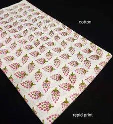 Hand Block Print Cotton Fabric Running