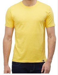 Round Half Sleeve Men Plain Cotton T Shirt