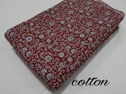 Maroon Printed Pure Cotton Fabric Running