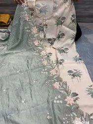 Cotton Grey Ladies Muslin Print Unstitched Suit