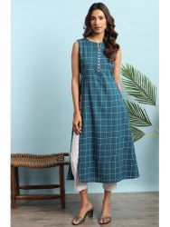 Janasya Women's Teal Cotton Kurta With Pocket(J0131)