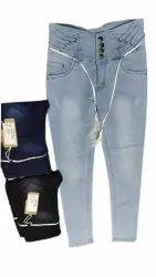 Skinny Dark Blue Ladies Daily Wear Denim Jeans