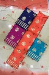 Multicolor Formal Cotton Satin Unstitched Suit, Floral