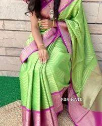 Printed Zardozi Work Wedding Saree, Saree Length: 6 m (with blouse piece), Without Blouse