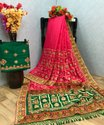 Saree with Embroidery Diamond Work Heavy Jacquard Lace Border Fancy Latkan