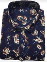 Blue Printed Cotton Fabric Shirt, For Personal