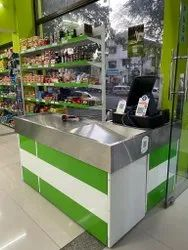 Wooden Green & White Supermarket Checkout Display Counter, For Grocery