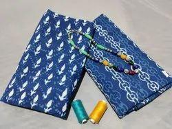Ladies Blue Indigo Hand Block Cotton Suit Fabric