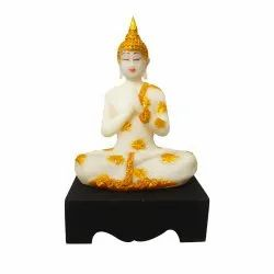 Polyresin Buddha Statue with Wooden Base