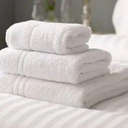 White Cotton Hotel Bath Towel, 450-550 GSM, Size: 30X60