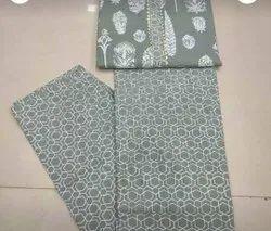 Pure Cotton Gray Color Fabric Suit